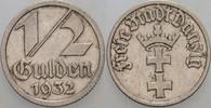 1/2 Gulden 1932 Danzig  Sehr schön - vorzü...