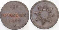 1 Pfennig 1819 Frankfurt  Vorzüglich
