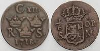 1/6 Öre 1718 Schweden Carl XII.,  1697-171...