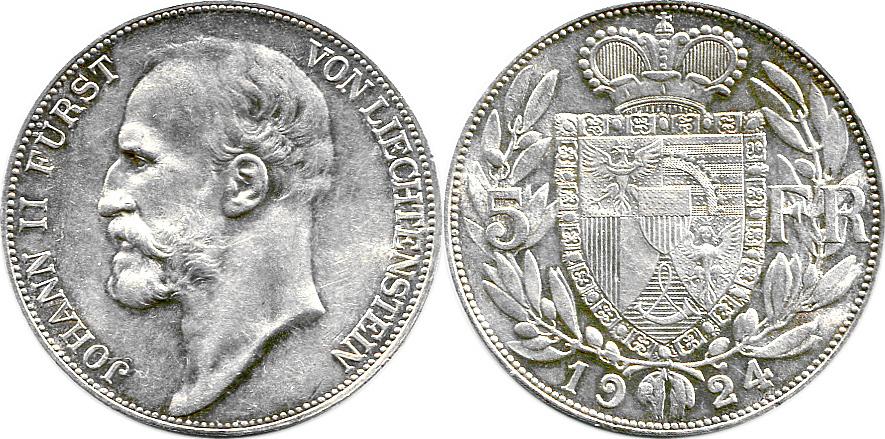 5 Franken 1924 Liechtenstein Fürst Johann II  (1858-1929) BU