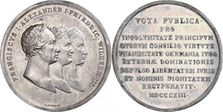 Silbermedaille 1813 NAPOLEON UND SEINE ZEIT Bündnis zwischen Österreich, Russland und Preußen vz, schöne Patina