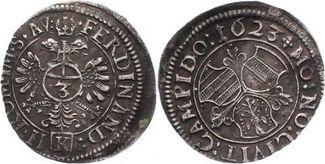 3 Kreuzer 1623 Kempten-Stadt  Schöne Patina. Fast vorzüglich