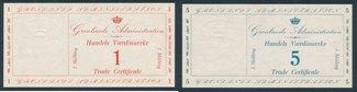 1 - 5 - 20 Skilling (1941) Grönland Seltene Banknoten von 2. Weltkrieg in TOP Qualität mit PRÄGEDRUCK! BFR