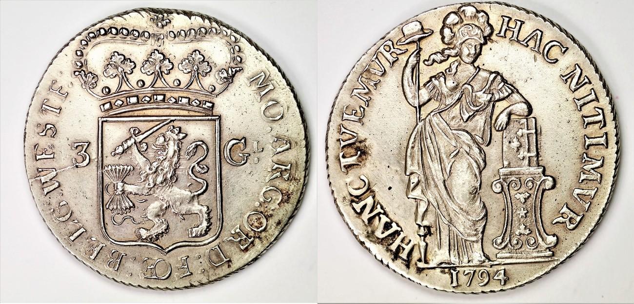 1794/3 The Netherlands/ West-Friesland 3 gulden 1794 on 1793 RARE. EF-    MA-Shops
