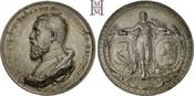 Versilberte Bronzemedaille 1886 Baden-Durlach Friedrich I. 1852-1907. Dunkle Tönung, kl. RF, gutes vorzüglich