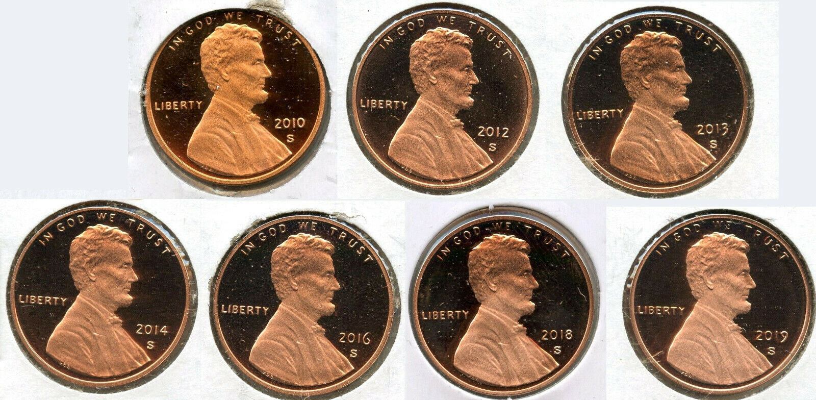 4 COIN LOT 2019-S PROOF LINCOLN CENTS