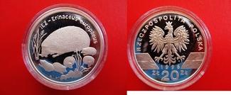 20 Zloty 1996 Polen Silber - 20 Zlote - 20 Zlotych - Igel - Igelfamilie - selten PP in Kapsel