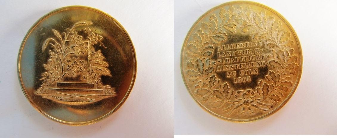 medaille 1865 k ln bronzemedaille vergoldet zur allgemin landwirtschaftlichen ausstellung zu. Black Bedroom Furniture Sets. Home Design Ideas