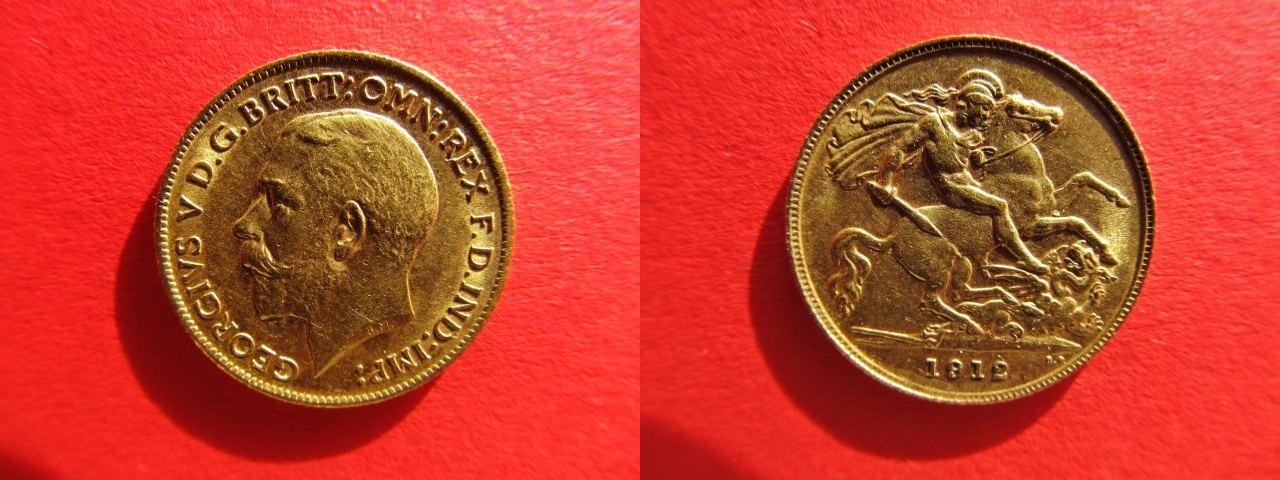 1 2 Sovereign 1912 Grossbritannien Great Britain Gold Coin Vf Ef