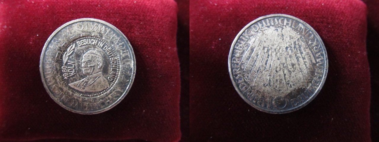 10 dm 1972 f brd k ln germany 10 marks 1972 f olympic coin counterstamped popevisit cologne. Black Bedroom Furniture Sets. Home Design Ideas