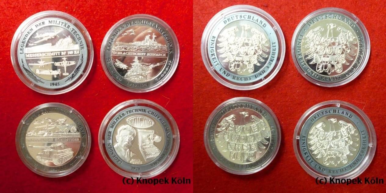 Lot 4 Silber Medaillen O Jg Brd Legenden Der Militärtechnik Enigma