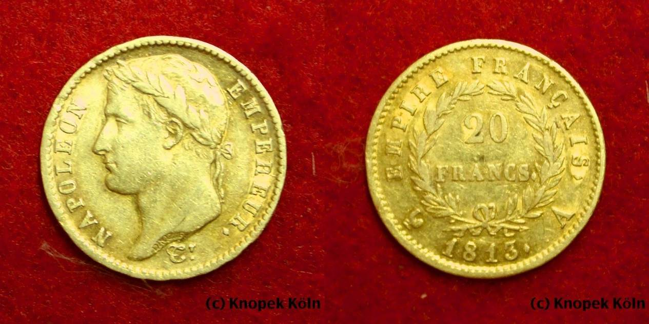 20 Francs Gold 1813 A Frankreich Napoleon Empereur Empire Francais