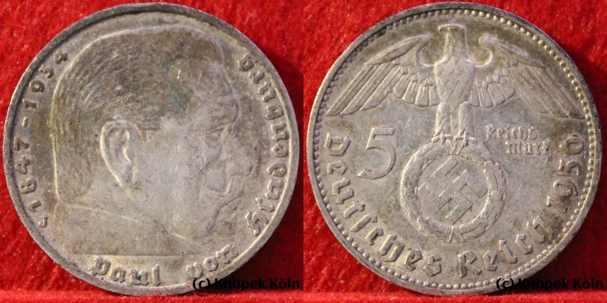 5 Mark 1936 J Drittes Reich Fünf Reichsmark Silber Reichspräsident