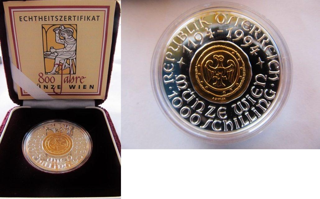 1000 Schilling 1994 österreich Austria 800 Jahre Münze Wien Münze