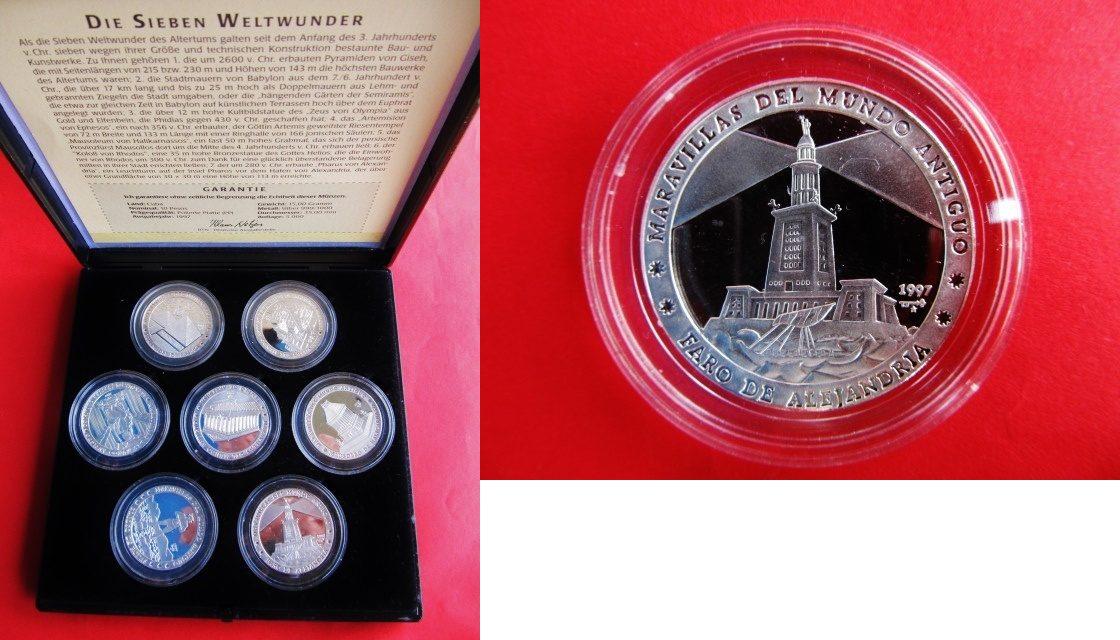 7 x 10 Pesos 1997 Kuba Silber Die Sieben Weltwunder Cuba 7 x ...