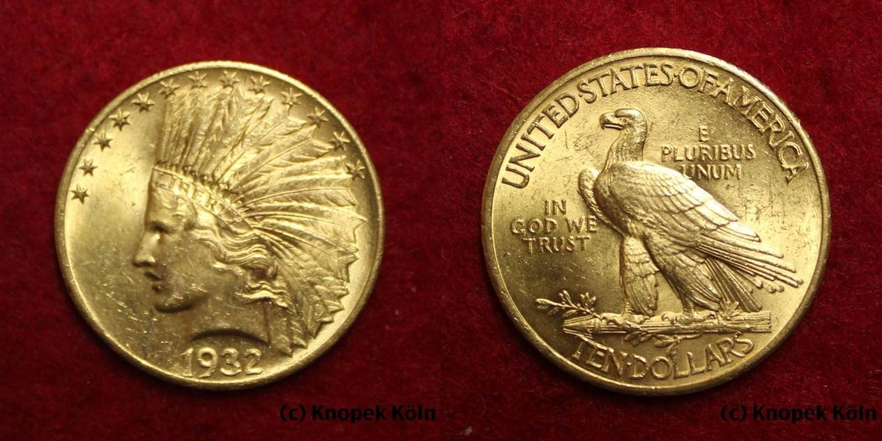 10 Dollars Gold 1932 Usa Usa Ten 10 Dollar Indian Head