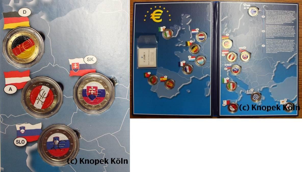 Lot 16x 2 Euro Farbig 2009 Europäische Union 16 Euro Staaten 10