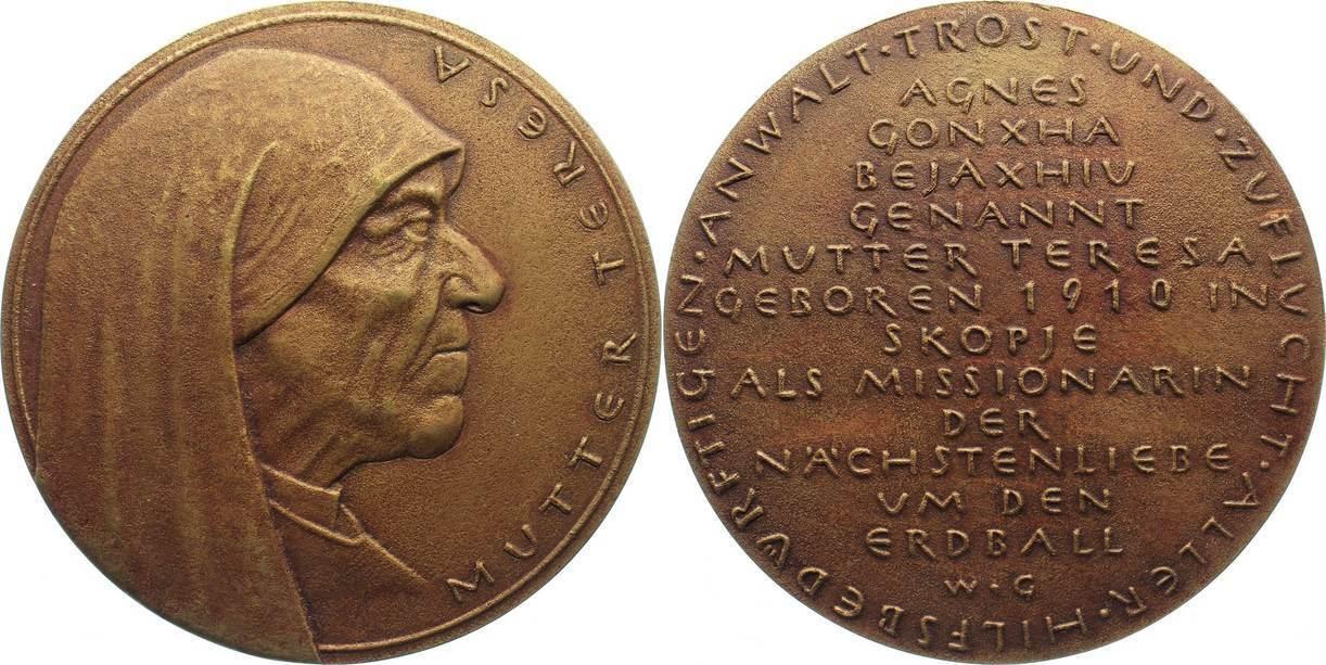 Bronzemedaille 1990 Personenmedaillen Mutter Teresa 1910 1997