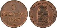Cu 3 Pfennig 1837  G Sachsen-Albertinische Linie Friedrich August II. 1... 80,00 EUR  +  4,50 EUR shipping