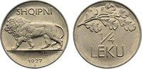 1/4 Leku 1927  R Albanien Ahmet Zogu, Präsident 1925-1928. Stempelglanz  60,00 EUR  +  4,50 EUR shipping