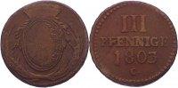 Cu 3 Pfennig 1803  C Sachsen-Albertinische Linie Friedrich August III. ... 12,00 EUR  +  1,50 EUR shipping