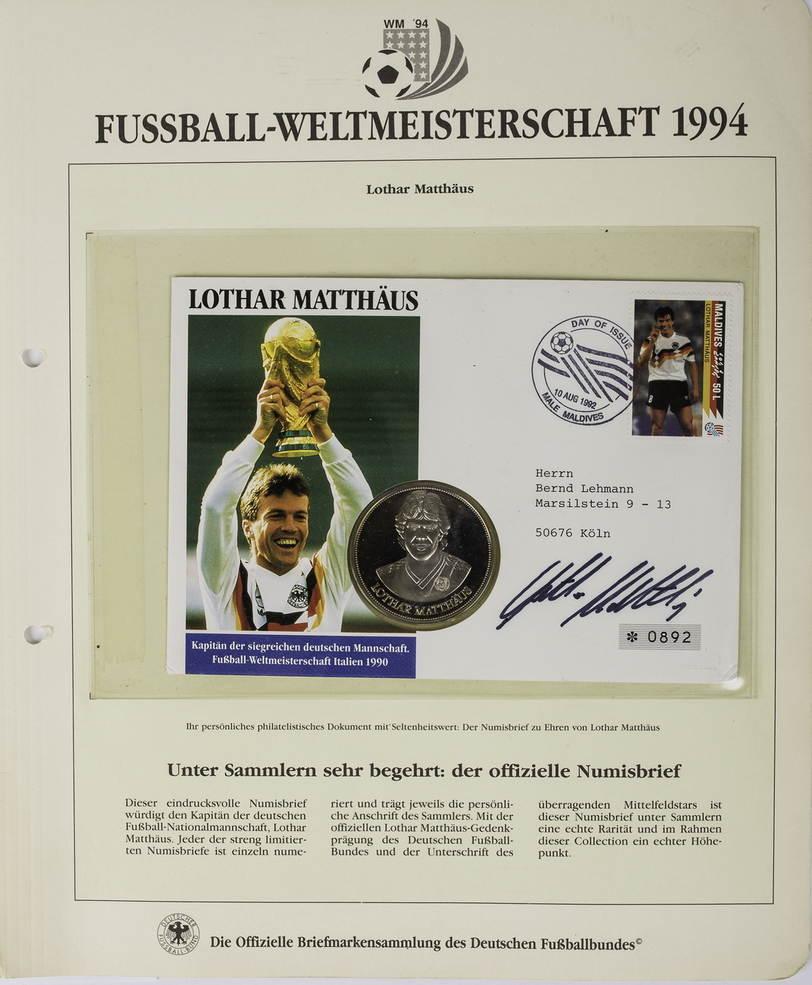 Ar Medaille O J Deutschland Fussball Weltmeisterschaft 1990 Mit Original Unterschrift Von Lothar Matthaus Proof In Numisbrief