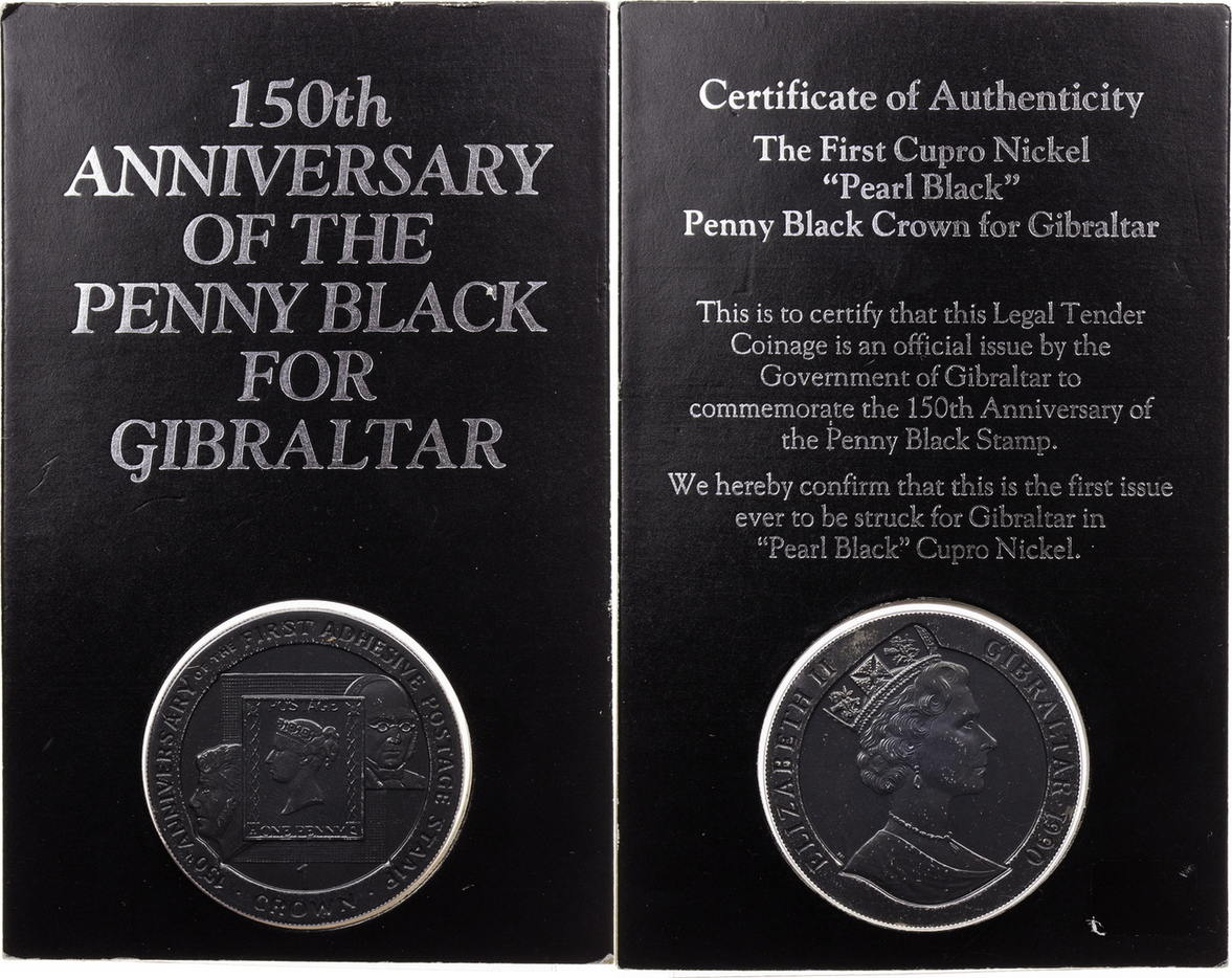1 Crown 1990 Gibraltar 150th Anniversary of the Penny Black for Gibraltar  in original Blister