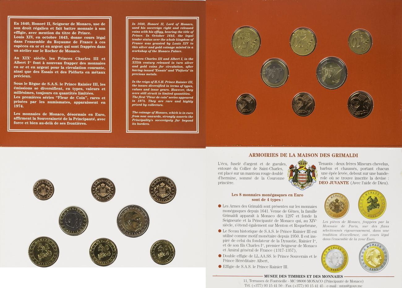 3 88 Euro 2001 Monaco Kursmunzensatz Bu In Blibuer Ma Shops