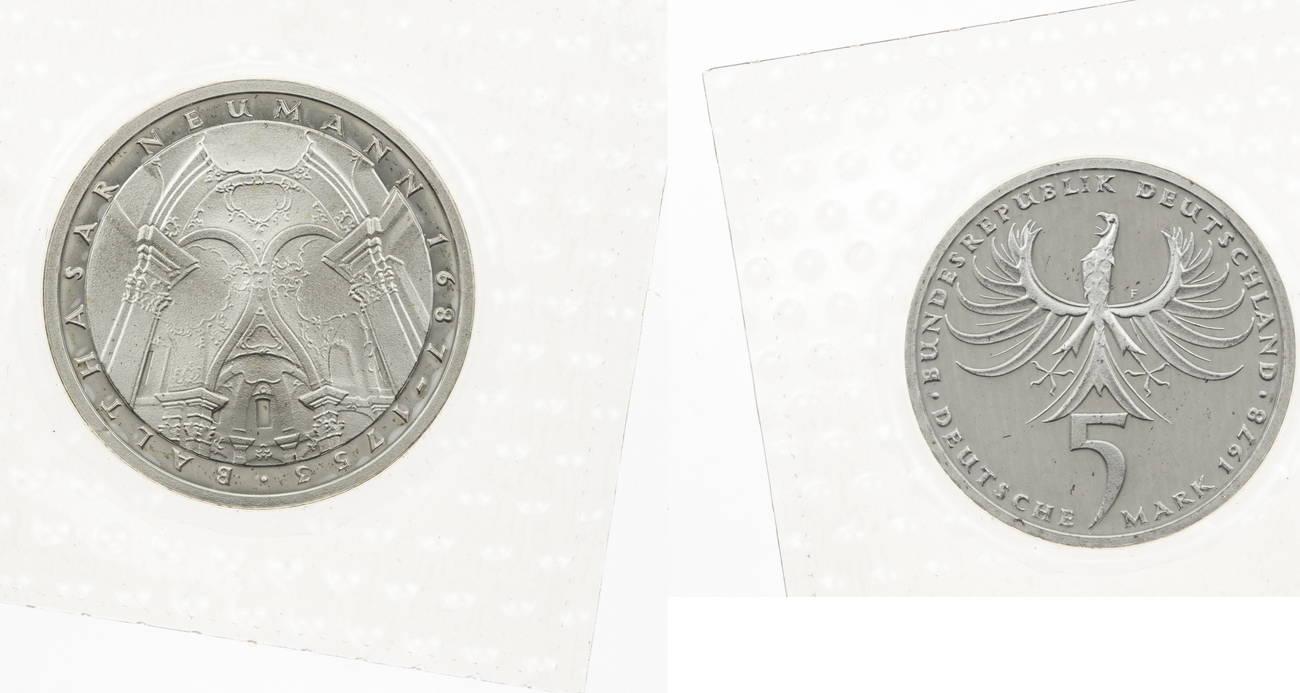 5 Mark 1978 Neumann Proof orginal Folie Germany Deutsche Mark DM Silver