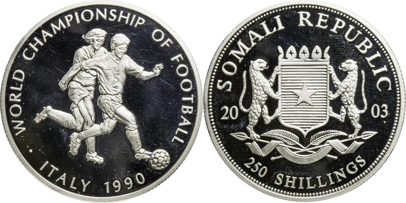 250 Shillings 2003 Somalia Auf Die Fussball Weltmeisterschaft 1990 In Italien Proof Gekapselt