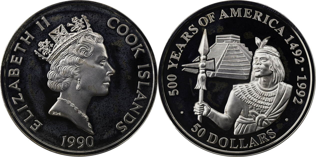 50 Dollars 1990 Cook Islands Elizabeth Ii Serie Quot500 Years Of