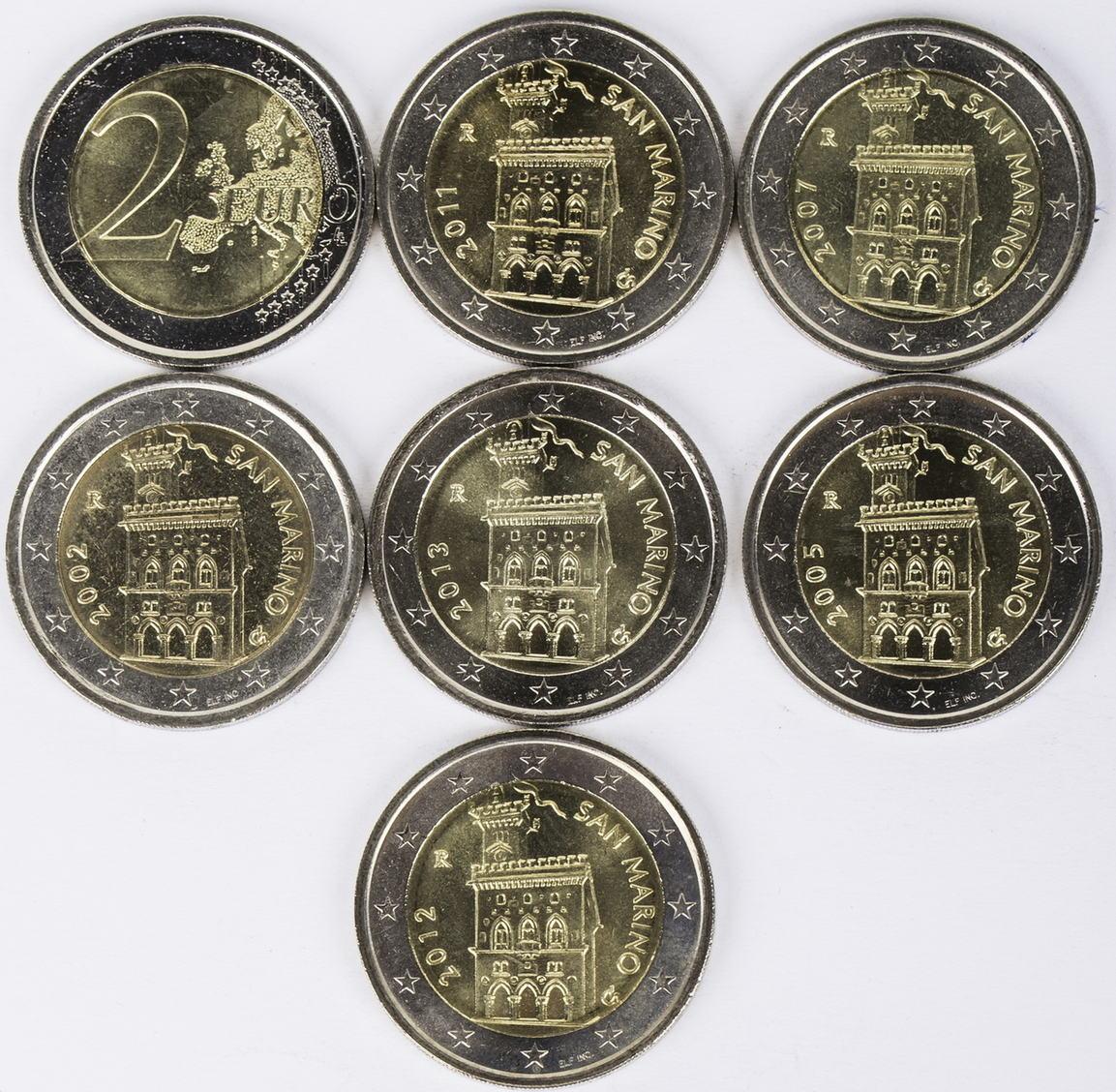 14 Euro 7 X 2 Euro 2002 2013 San Marino Lot 2 Euro Münzen San