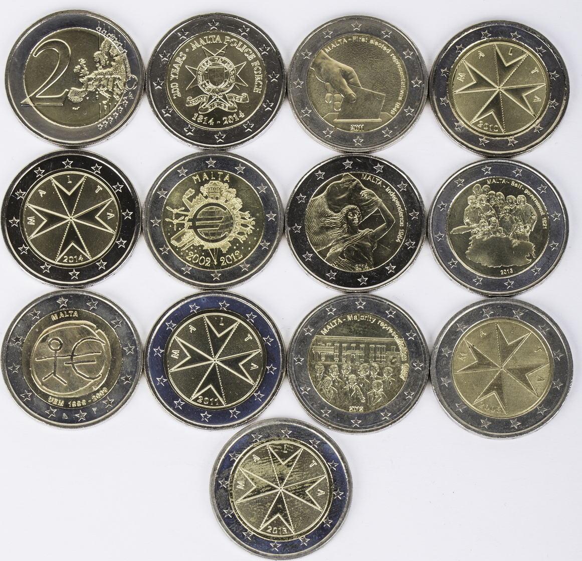 26 Euro 13 X 2 Euro 2008 2014 Malta Lot 2 Euro Münzen Malta