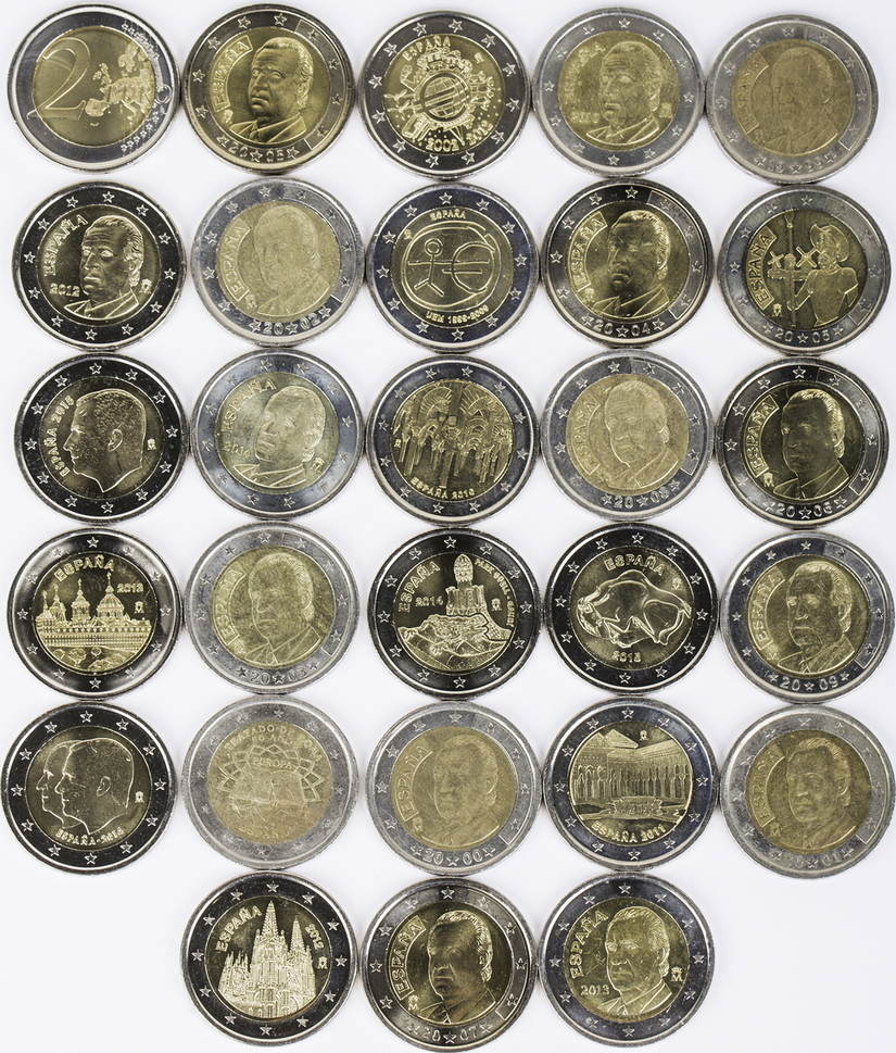 44 Euro 22 X 2 Euro 1999 2014 Spanien Lot 2 Euro Münzen Spanien