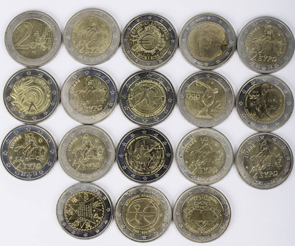 36 Euro 18 X 2 Euro 2002 2014 Griechenland Lot 2 Euro Münzen