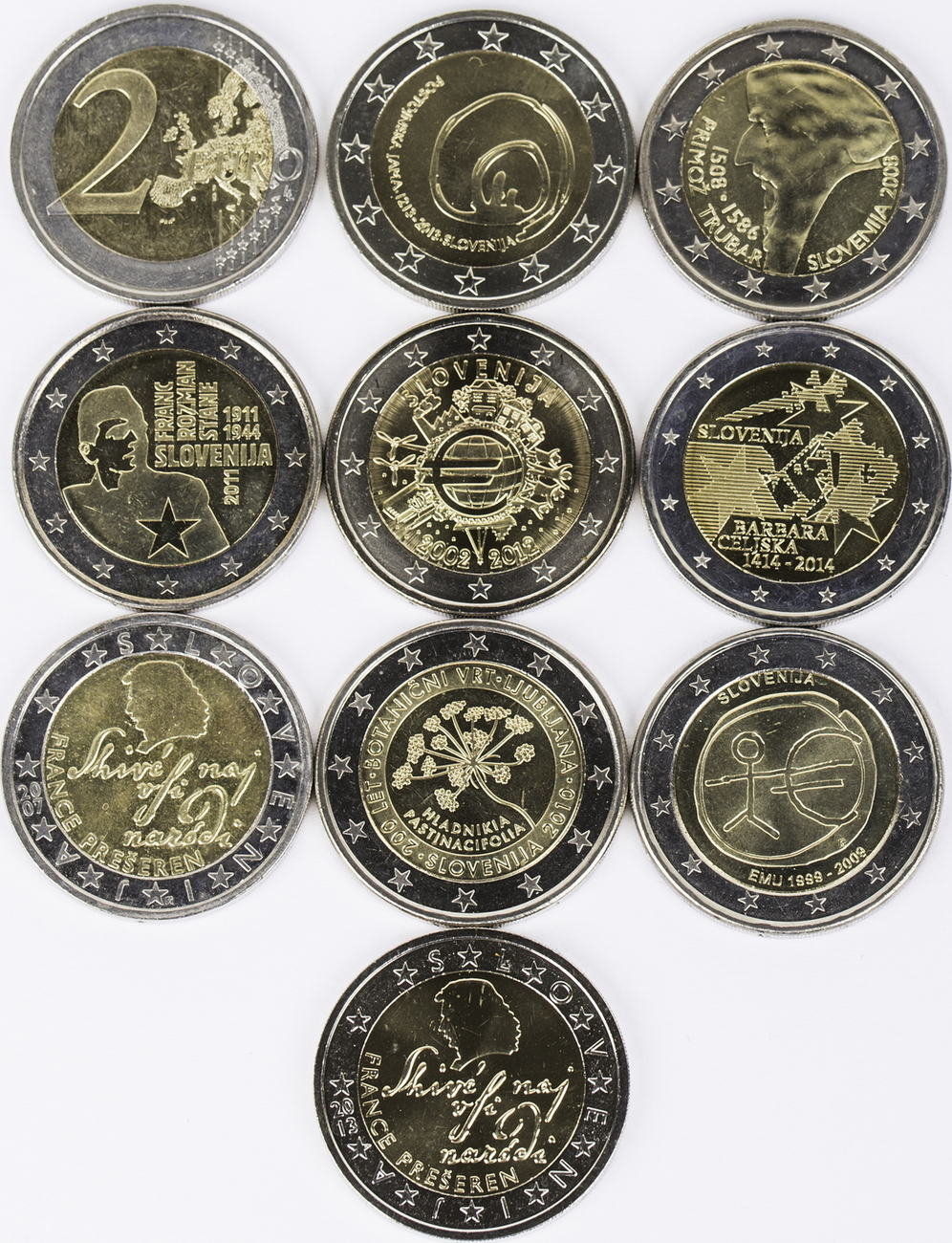 20 Euro 10 X 2 Euro 2007 2013 Slowenien Lot 2 Euro Münzen