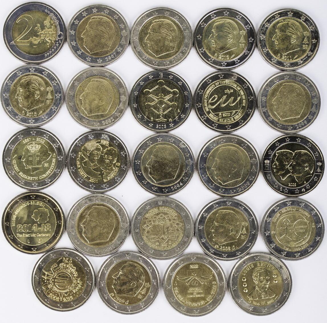 48 Euro 24 X 2 Euro 2009 2014 Belgien Lot 2 Euro Münzen Belgien