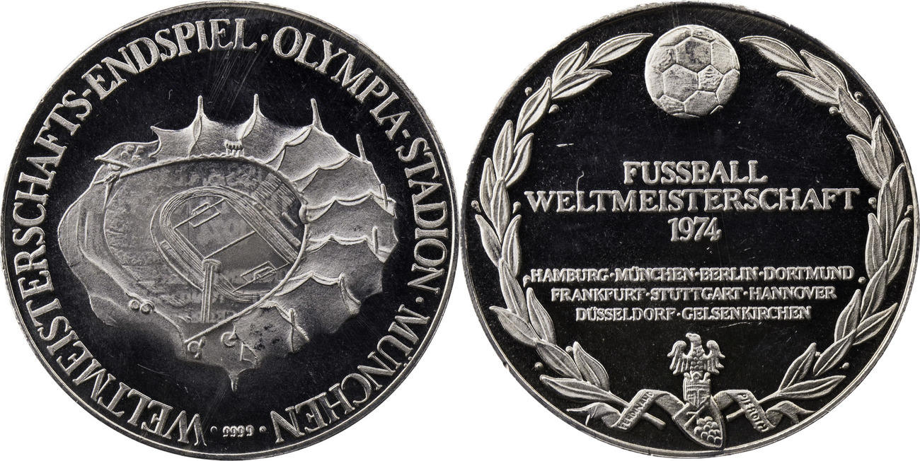 Silbermedaille 1974 Deutschland Fussball Wm Weltmeisterschaft 1974 Endspiel Olympiastadion Munchen Vz Aus Pp
