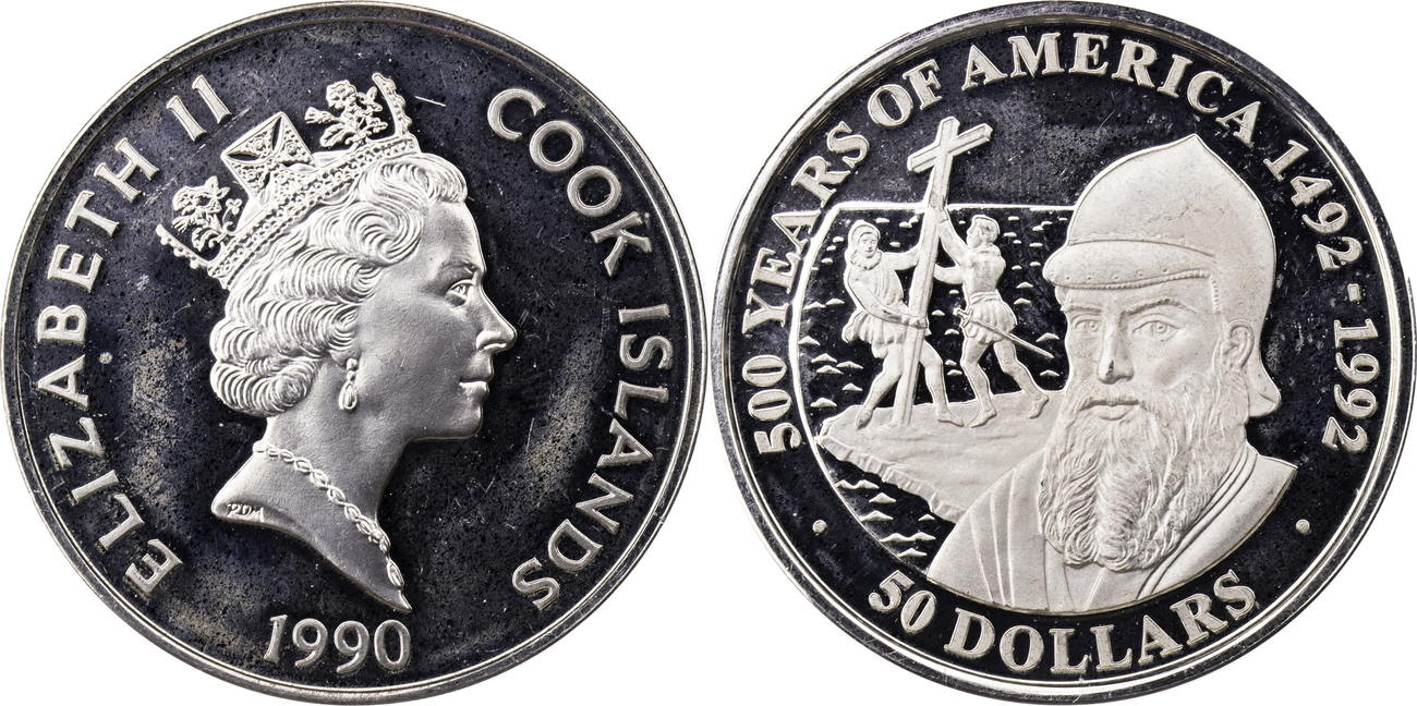50 Dollars 1990 Cook Islands Elizabeth Ii Serie 500 Years Of