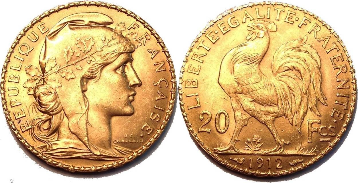 Franc 1912 Frankreich 20 Francs Gold Hahn Fast Prägefrisch Ef Unc