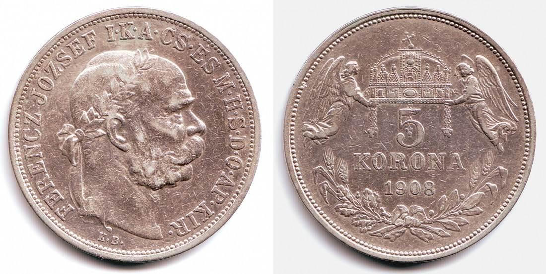 5 Korona 1908 Kb österreich Ungarn Silbermünze Kaiser Franz