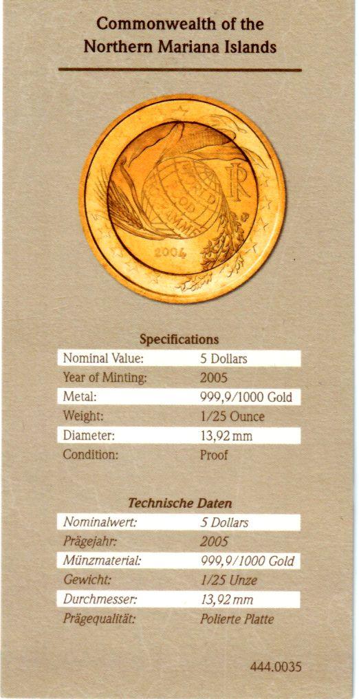 5 Dollars 2005 Marianen 2 EURO Sondermnzen