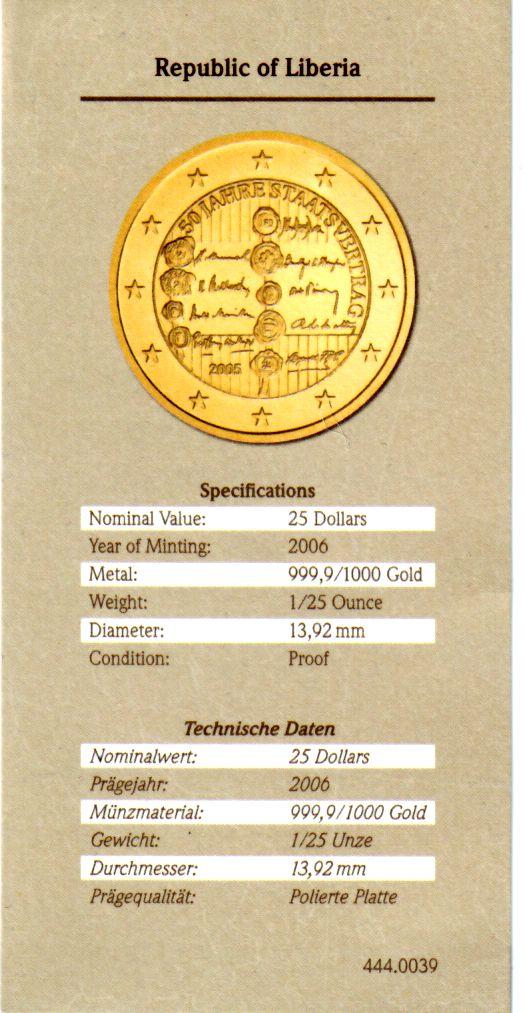 25 Dollars 2006 Liberia Goldmnze