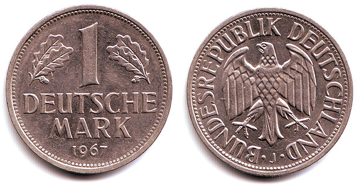 1 mark 1967 j deutschland 1 deutsche mark unc ma shops. Black Bedroom Furniture Sets. Home Design Ideas