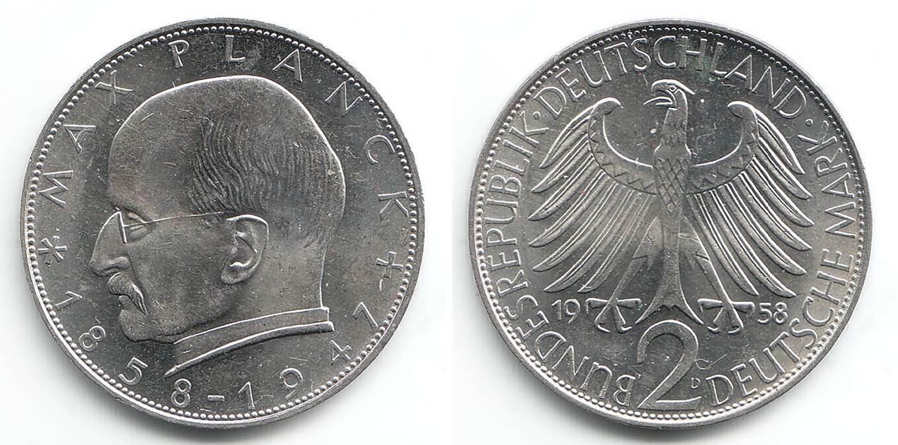 2 Mark 1958 D Deutschland 2 Mark Max Planck Unc Ma Shops