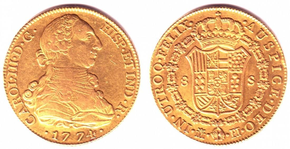 8 Escudos 1774 M-PJ Spanien Goldmünze - König Carlos III. (1759-1788) VF-EF