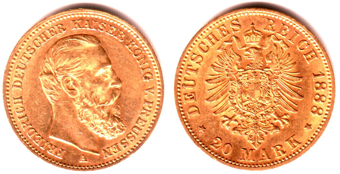 20 Mark 1888 A Preussen Goldmünze - Kaiser Friedrich III. UNC