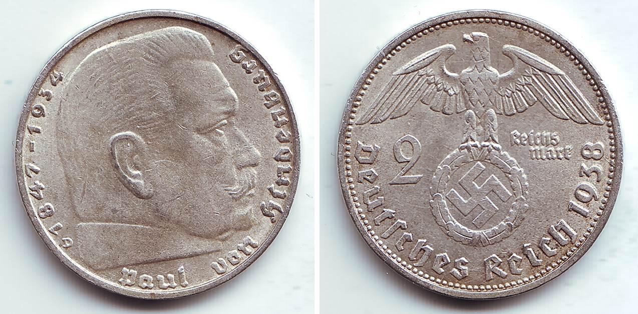 2 Reichmark 1938 D Deutsches Reich Paul Von Hindenburg F Unc Ma Shops
