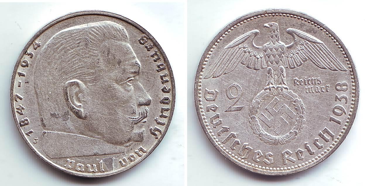 2 Reichmark 1938 J Deutsches Reich Paul Von Hindenburg F Spl Ma Shops
