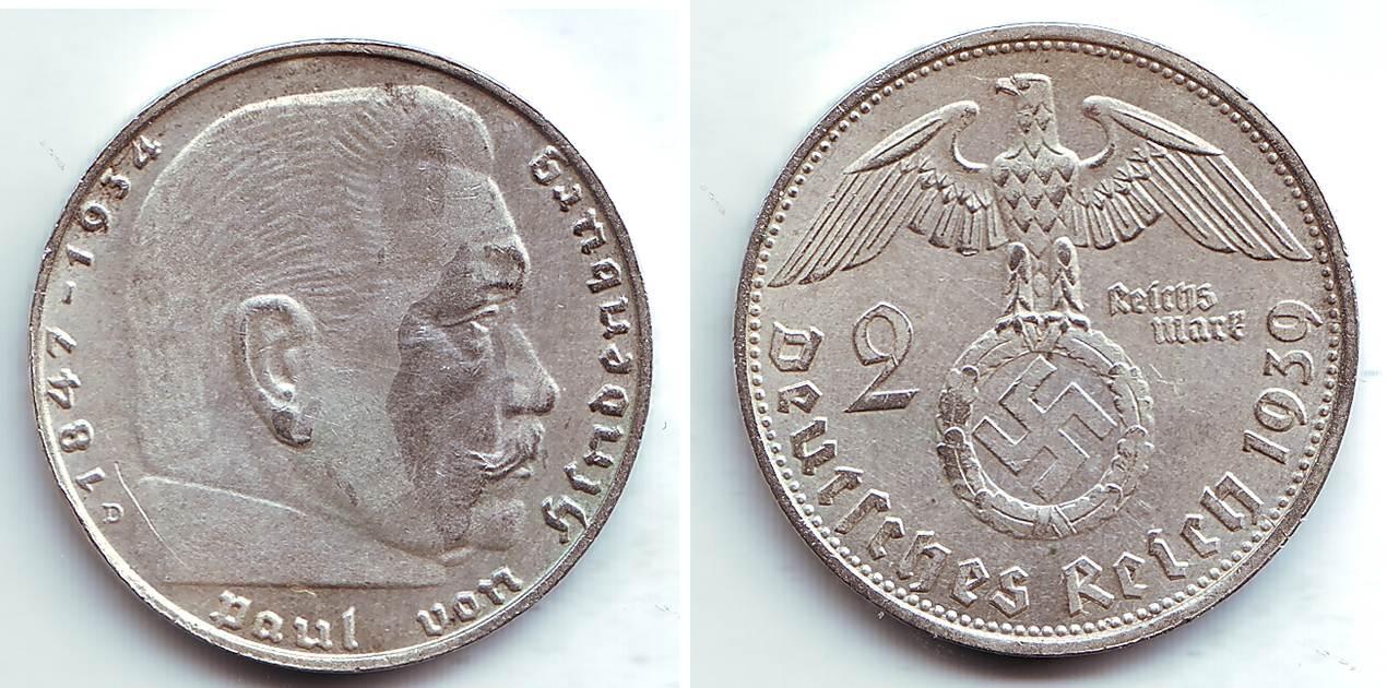2 Reichmark 1939 D Deutsches Reich Paul Von Hindenburg Mit